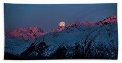 Setting Moon Over Alaskan Peaks Iv Beach Towel