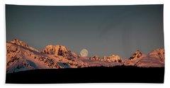Setting Moon Over Alaskan Peaks V Beach Towel