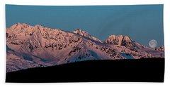 Setting Moon Over Alaskan Peaks Vi Beach Towel