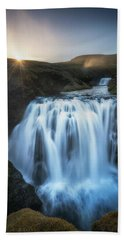 Setting Sun Above Iceland Waterfall Beach Towel