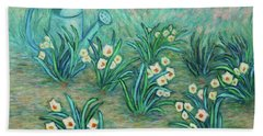 Beach Sheet featuring the painting Seven Daffodils by Xueling Zou