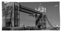 Beach Towel featuring the photograph Seven Seconds - The Tower Bridge Hawker Hunter Incident Bw Versio by Gary Eason