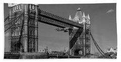 Seven Seconds - The Tower Bridge Hawker Hunter Incident Bw Versio Beach Towel
