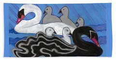 Beach Sheet featuring the painting Seven Swans Swimming by Denise Weaver Ross