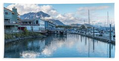 Seward Harbor In Alaska Beach Sheet