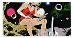 Sexy Pin Up Big Woman Wants To Play With Amazed Astronaut, Vintage Sci-fi Comic Book Poster Beach Towel