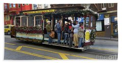 Sf Cable Car Powell And Mason Sts Beach Sheet by Steven Spak