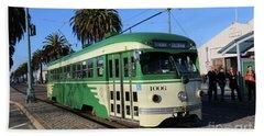 Sf Muni Railway Trolley Number 1006 Beach Sheet by Steven Spak