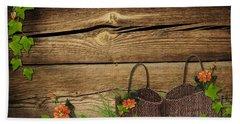 Shabby Chic Flowers In Rustic Basket Beach Towel
