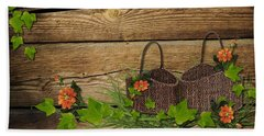 Shabby Chic Flowers In Rustic Basket Beach Towel