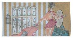 Shabby Chic -- Art Deco Interior W/ Fashion Figure Beach Towel