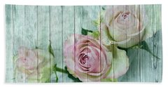 Shabby Chic Pink Roses On Blue Wood Beach Towel