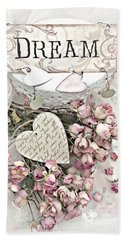 Beach Towel featuring the photograph Shabby Chic Romantic Dream Valentine Roses - Romantic Dreamy Roses Valentine Hearts by Kathy Fornal