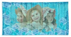 Shabby Chic Vintage Little Girls And Roses On Wood Beach Towel
