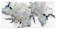 Beach Towel featuring the painting Shades Of White Peony by Hanne Lore Koehler