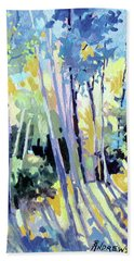 Beach Towel featuring the painting Shadowed Walk by Rae Andrews
