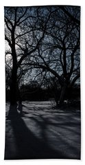 Shadows In January Snow Beach Towel