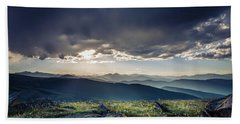 Beach Towel featuring the photograph Shadows Over Mountains by Chris Bordeleau