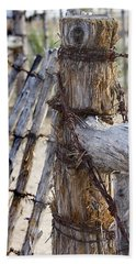 Beach Towel featuring the photograph Shaggy Fence Post by Phyllis Denton