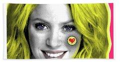Shakira, Pop Art, Pop Art, Portrait, Contemporary Art On Canvas, Famous Celebrities Beach Sheet by Dr Eight Love