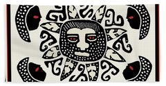 Beach Towel featuring the digital art Shaman Sun Spirits by Vagabond Folk Art - Virginia Vivier
