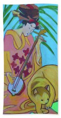 Beach Towel featuring the painting Shamisen-three-strings by Denise Weaver Ross