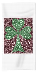Beach Towel featuring the digital art Shamrock With Leaves by Lise Winne
