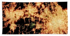 Shanghai From Space Beach Towel by Delphimages Photo Creations