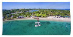 Beach Sheet featuring the photograph Shangrila Fiji Aerial Panorama by Brad Scott