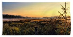 Sharing A September Sunrise With A Retriever Beach Towel
