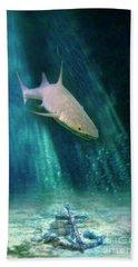 Shark And Anchor Beach Sheet by Jill Battaglia