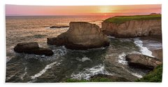 Shark Fin Cove Sunset Beach Towel