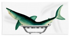 Shark In The Bath Beach Towel