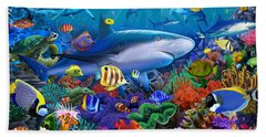 Shark Reef Beach Towel by Gerald Newton
