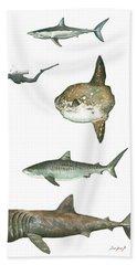 Sharks And Mola Mola Beach Towel