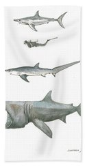 Sharks In The Deep Ocean Beach Towel by Juan Bosco