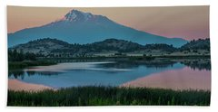 Shasta Reflected Beach Towel by Nancy Marie Ricketts