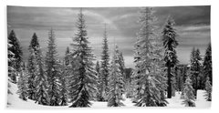 Beach Sheet featuring the photograph Shasta Snowtrees by Martin Konopacki