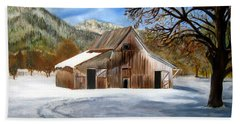 Beach Sheet featuring the painting Shasta Winter Barn by LaVonne Hand