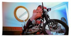 She Rides- Beach Towel