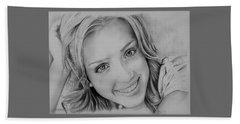 She Smiles Beach Towel by Jessica Perkins