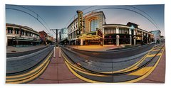 Beach Towel featuring the photograph Shea's On Main Street Buffalo - Panorama by Chris Bordeleau