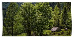 Beach Sheet featuring the photograph Shed In The Slovenian Alps by Stuart Litoff