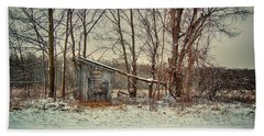 Shed In Winter Beach Towel