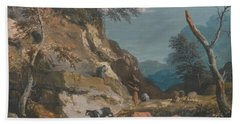 Sheep And Three Peasants Below A Cliff Beach Towel