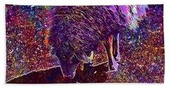 Beach Sheet featuring the digital art Sheep Animal Animals Wool Meadow  by PixBreak Art