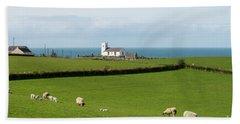 Beach Towel featuring the photograph Sheep Grazing On Irish Coastline by Juli Scalzi