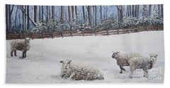 Sheep In Field Beach Towel by Reb Frost