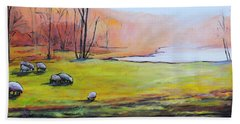 Beach Towel featuring the painting Sheep In Pasture by Jodie Marie Anne Richardson Traugott          aka jm-ART