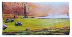 Sheep In Pasture Beach Towel